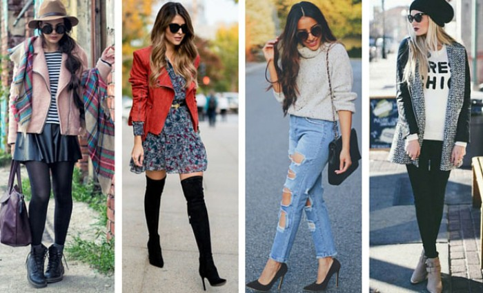 young slim women, dressed in four different outfits, suitable for thanksgiving, mini dress and over-the-knee boots, ripped jeans and a polo neck jumper, mini skirt and a striped top, black skinny trousers, and a printed t-shirt