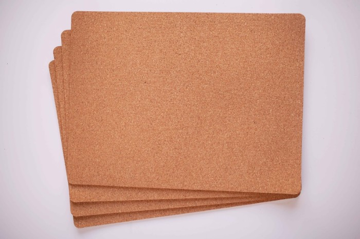 rectangular pieces of cork, four in total, placed on a white surface, cheap ways to decorate a teenage girl's bedroom, making diy bulletin boards