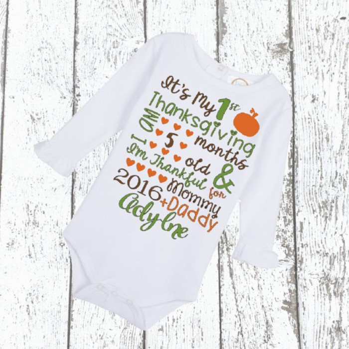 first thanksgiving baby onesie, with long sleeves, baby's first thanksgiving outfit, featuring a festive message, printed in green, orange and brown