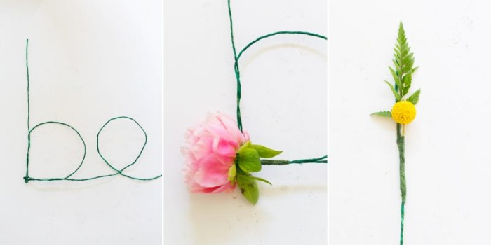 how to make a wall decoration, with thin green wire, and faux flowers, diys for girls, explained in three steps, with images