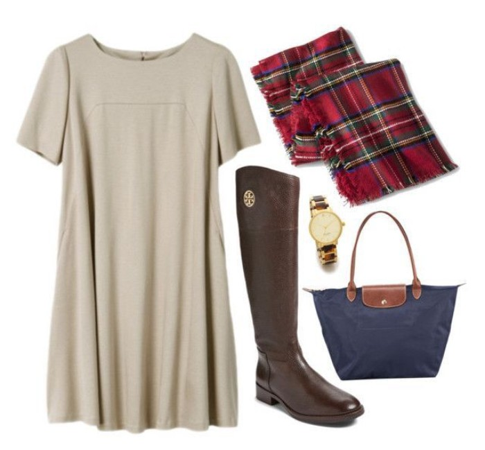 tall brown leather, riding style boots, a-line dress in ivory, cute thanksgiving outfits, tartan blanket scarf, and a navy blue tote bag, with brown leather details
