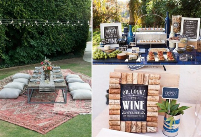 three images with 50th birthday party ideas for mom, a boho picnic in the garden, a wine tasting station, and some wine themed decorations