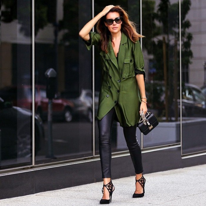 forest green oversized shirt, with rolled up sleeves, worn over black, leather look leggings, thanksgiving outfits, black high heels