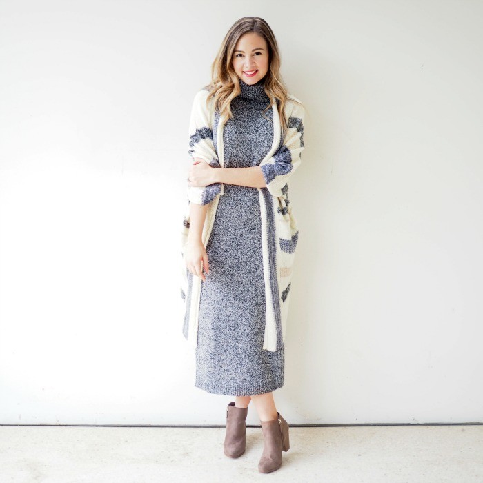 thanksgiving outfits for women, long polo neck jumper dress, in grey melange, worn with beige, suede ankle boots, and a white cardigan, featuring cream and grey stripes