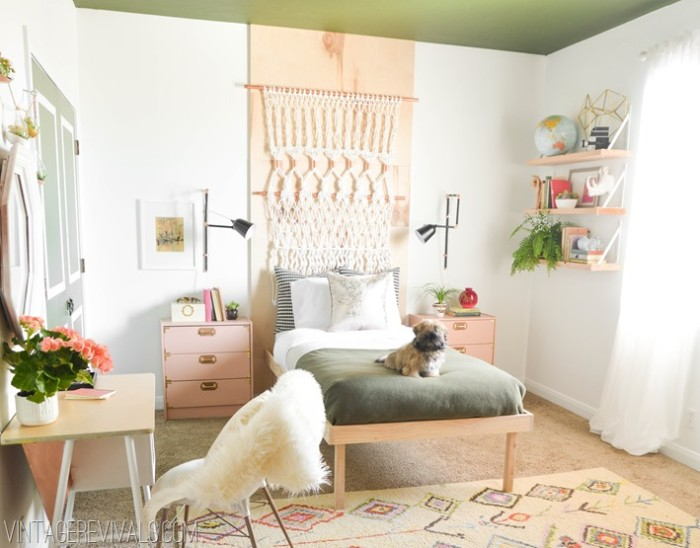dog laying on a single bed, in a room with white walls, decorated with a peach pink stripe, and a green ceiling, teen bedrooms, window with white curtains, beige patterned rug