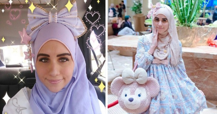 what is lolita, two images showing a close up, and a medium shot, of a young woman, with a pastel colored hijab, dresed in a girly, pale blue patterned dress