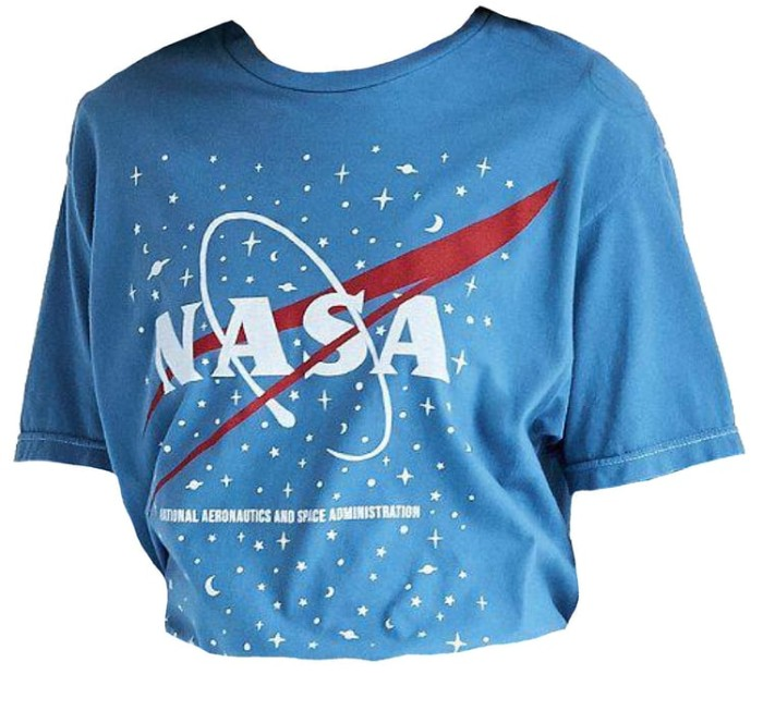 blue oversized and baggy t-shirt, featuring a nasa logo, in white and red, 80s and 90s aesthetic, on a white abckground