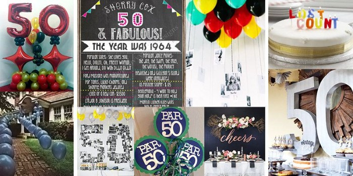 collage with nine images, showing ideas for organizing, and decorating a 50th birthday party, balloons and cake, wall decorations and old photos