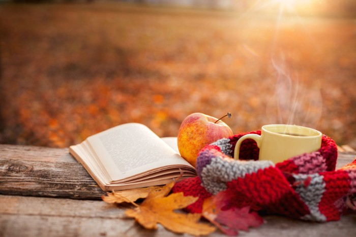 steaming pale cream mug, wrapped with a multicolored striped scarf, near an open book and an apple, thanksgiving wishes, fall leaves in orange and red