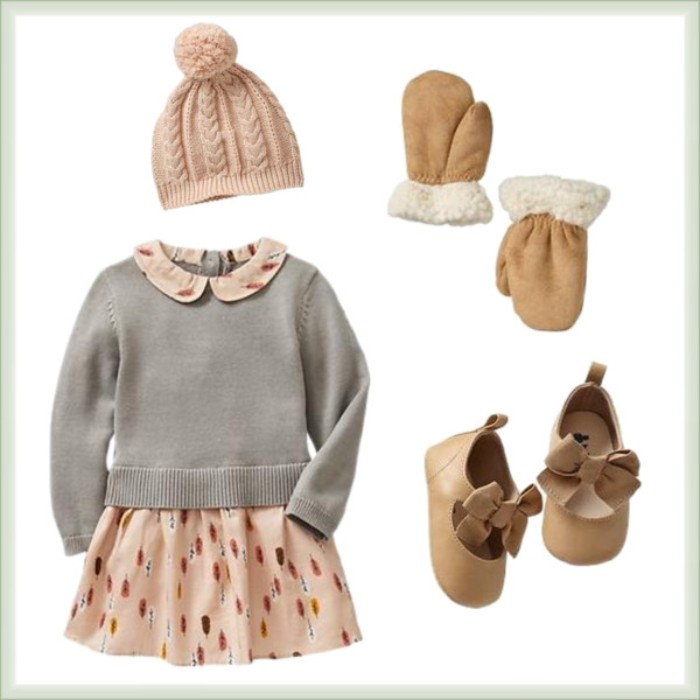 mittens in beige, with white shearling fur trim, a pale pink dress, with turkey feather print, a light grey jumper, baby thanksgiving outfits, beige shoes with bows, and a pale pink winter hat, with a pom pom