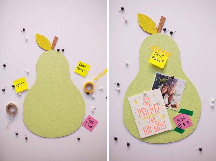 two images showing a pear-shaped bulletin board, made from cork, painted in pale green, once bare and once decorated with a photo, and some post it notes, diys for your room
