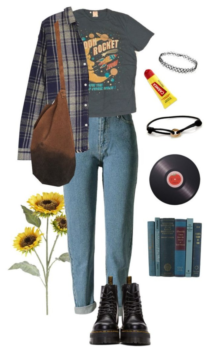 high waisted blue acid wash jeans, dark grey t-shirt, with a colorful print, plaid shirt and a brown suede bag, black combat boots, and various accessories, 90s grunge clothing