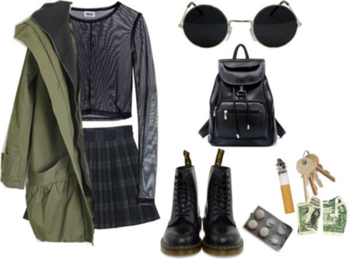 parka in khaki green, pleated mini skirt, in dark green and navy plaid, sheer black mash top, with long sleeves, black leather combat boots, backpack and round sunglasses