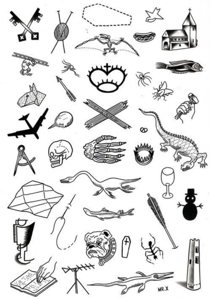 templates for small tattooes, drawn in black, on a white sheet, meaningful tattoo ideas, crossed keys and dinosaurs, dogs and weapons, and many others