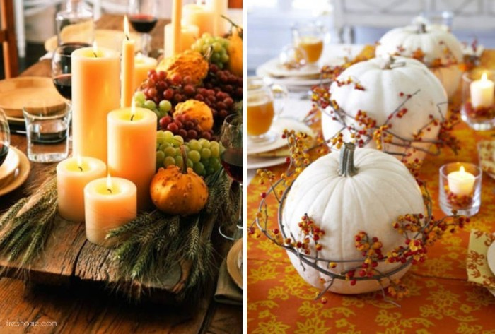 board made of wood, decorated with lit candles, in different shapes and sizes, red and green grapes, gourds and green wheat stalks, next image shows three white pumpkins, decorated with wreaths, made of thin branches, with tiny orange berries