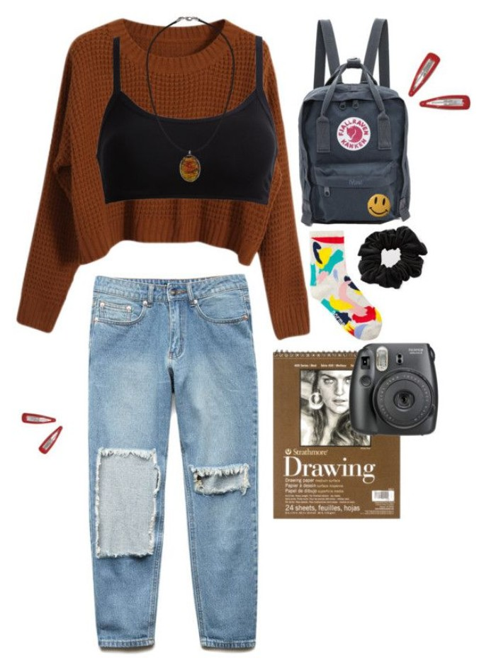 khaki green backpack, brown chunky knit sweater, plain black bralette, and ripped pale blue jeans, 90s grunge clothing, black hair scrunchie, multicolored socks and acceossires
