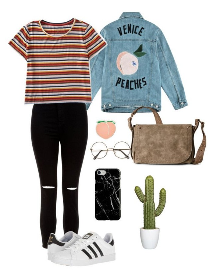 red and white and blue striped t-shirt, ripped black skinny jeans, blue denim jacket, with hand-painted back, beige suede cross-body bag, and a few accessories