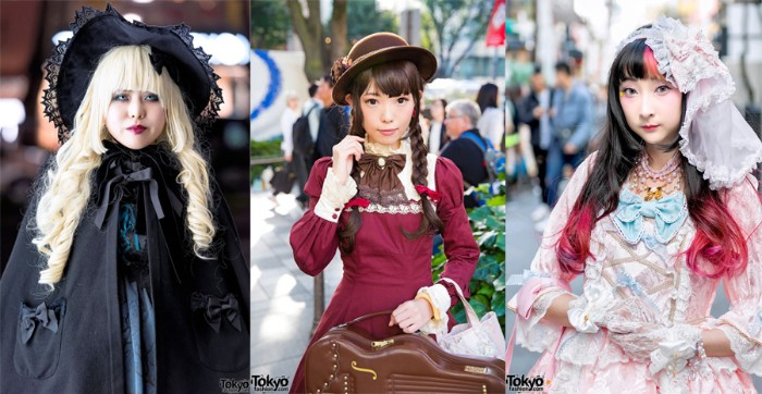 variations of the lolita style, gothic lolita dressed in black, classic lolita in a burgundy dress, with lace trims, and a sweet lolita, in a pastel pink and blue gown, with a sheer white veil
