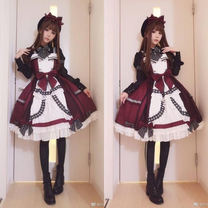 purple and white lolita style dress, with black details, frills and bows, worn by a slim girl, seen from two angles