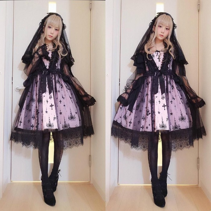 sheer black veil, with lace trim, worn over a pale purple dress, with a black pattern, japanese lolita outfit, with black shoes and opaque tights