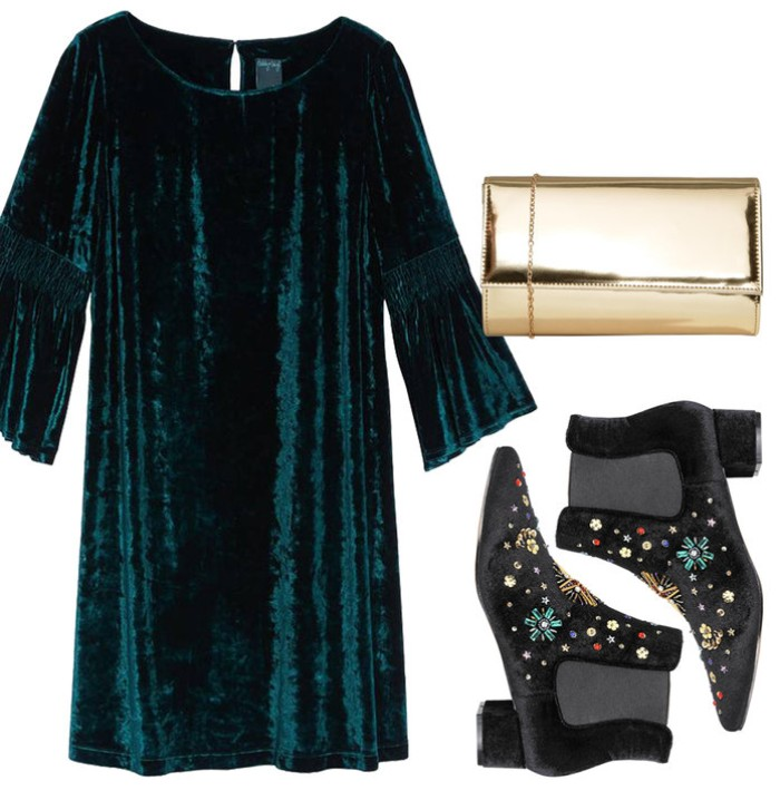 patent leather clutch bag in gold, dark green velvet mini dress, with bell sleeves, thanksgiving outfits, black ankle boots, with beaded embroidery