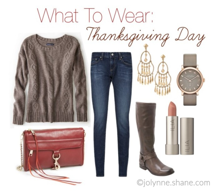 wrist watch and earrings, tall brown leather boots, dark blue skinny jeans, mink brown cable knit sweater, a red clutch bag, and a lipstick, what to wear for thanksgiving day