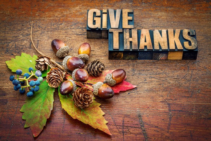 acorns and tiny blue berries, and small pine cones, on a large fall leaf, near two wooden blocks with the words give thanks, thanksgiving greeting message, on a worn wooden surface
