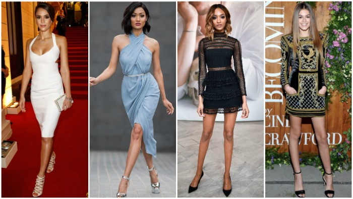 female celebrities in special occasion dresses, what is semi formal attire, white wiggle dress, pale blue dress with crossing straps, little black dress with sheer lace, black mini dress with gold embroidery