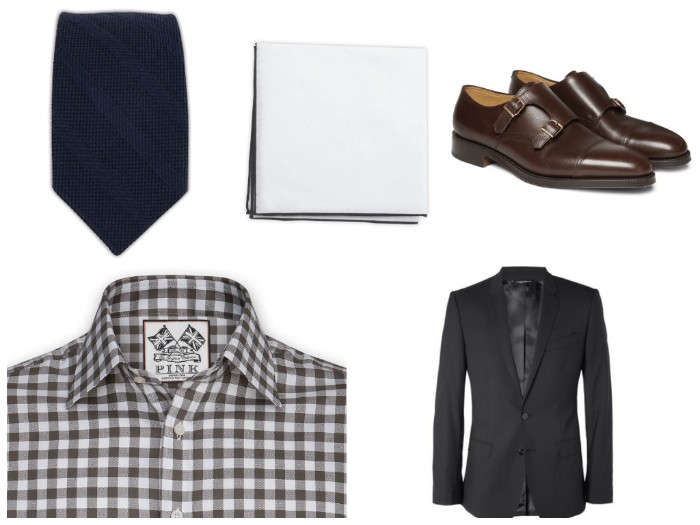 semi formal wedding attire assentials, checkered shirt in brown and white, dark striped tie, black formal blazer, brown leather shoes, and a white handkerchief