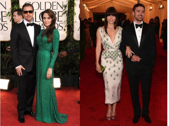 what is cocktail attire for men, brad pitt and angelina jolie, wearing a smart black suit, with a white shirt, and a black tie, and a sparkling green gown, and justin timberlake and jessica biel, wearing a smart black suit, and a pale pink midi dress, with a green pattern