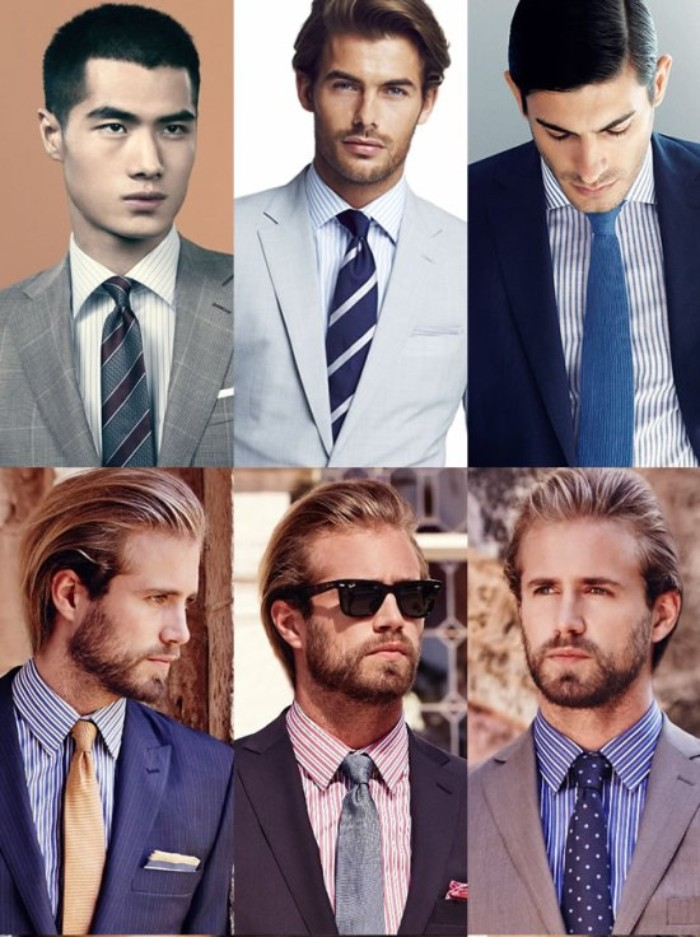 six images showing men in medium close up, dressed in smart pinstripe shirts, and blazers in light grey and navy blue, dark grey and black, worn with smart ties