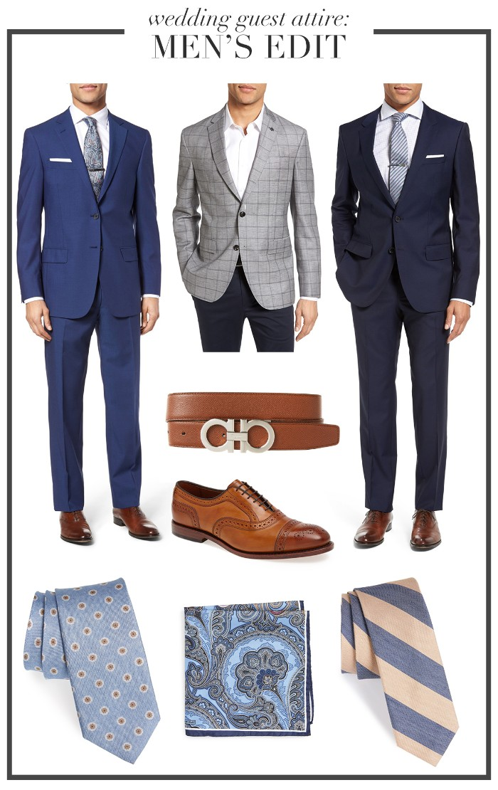 black tie optional wedding, three ideas for a smart outfit for men, blue suit with a white shirt, checkered grey blazer, white shirt and dark trousers, navy blue suit with a white shirt, patterned neckties and a pocket handkerchief, brogue shoes and a belt