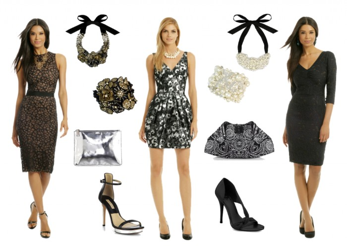 knee-length dresses, one in black, and one with a dark floral pattern, and a grey and white mini dress, what is semi formal attire, on three slim young women, two shoes and various accessories