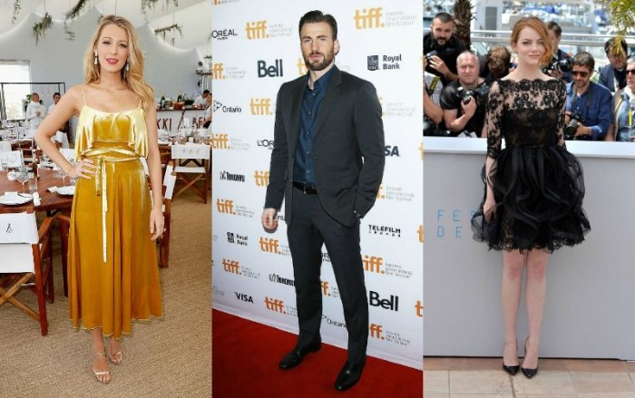 blake lively wearing a yellow, strappy midi dress, emma stone wearing a little black dress, with lace and a puff ball skirt, cocktail attire wedding, chris evans in a dark grey suit, with a navy blue shirt
