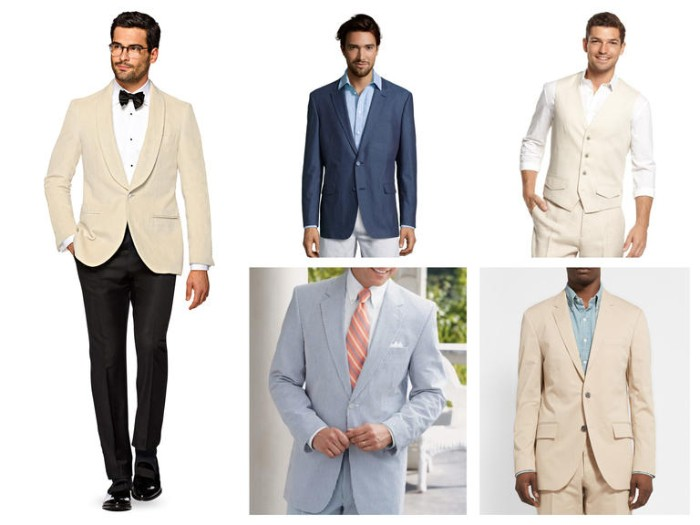 dinner jacket in cream, with a white shirt, black trousers and a black bowtie, blue blzer with a light blue shirt, and off-white trousers, and other combinations, cocktail attire wedding