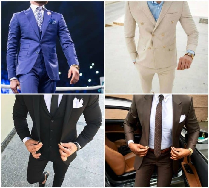blue suit with a white shirt, and a patterned blue tie, pale cream suit, with a light blue shirt, black three piece suit, black tie optional wedding, brown suit with a white shirt, and a brown tie