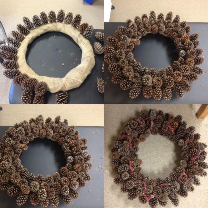 sticking lots of pinecones, onto a hoop, wrapped in white adhesive texture, how to make a christmas wreath, shown in four steps
