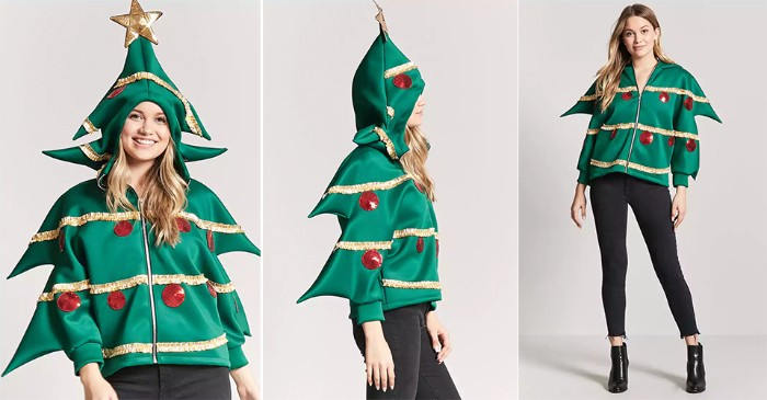hoodie in green, shaped like a xmas tree, with gold garlands, and red baubles, worn by a young, smiling blonde woman, ugly sweater ideas