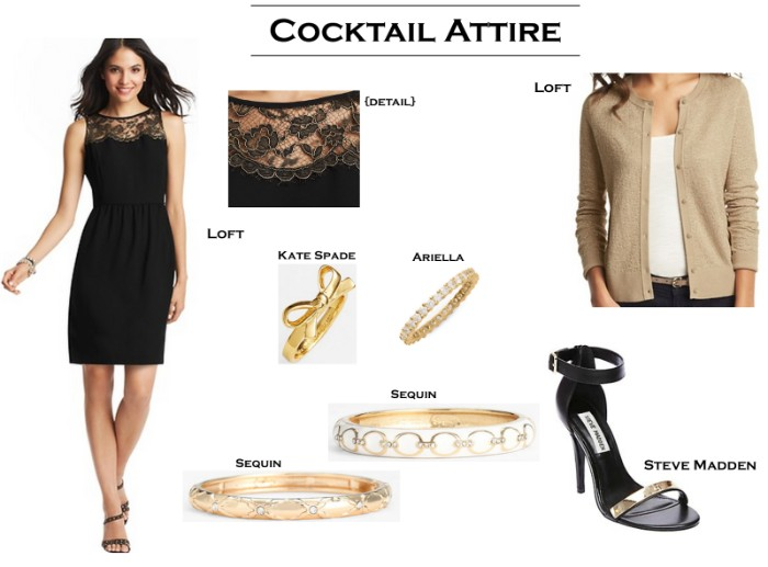 choosing the right outfit, what is cocktail attire, smart black dress with lace detail, black and gold high heel sandals, light beige cardigan, gold barcelets and rings