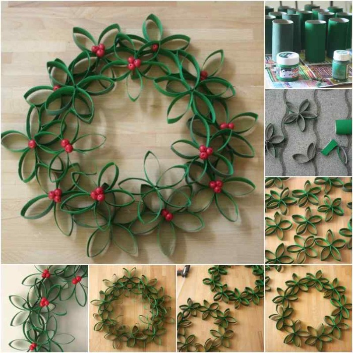 eight images explaining the process, of creating a floral green wreath, making tubes from green paper, cutting them into strips, sticking the strips together to form flowers, and attaching the flowers together, to form a wreath