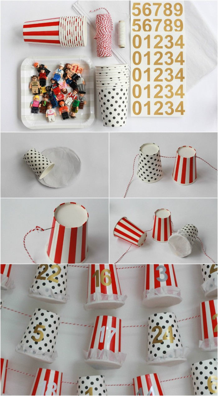 paper cups with different patterns, striped white and red, and plain white string, gold number sticker sheets, and multiple lego figurines, christmas advent calendar, easy idea you can make at home