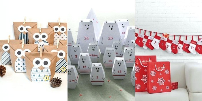 collage with three images, showing ideas for handmade advent callendars, brown paper bags, amde to look like owls, white polar bear boxes, little numbered red and white stockings, made from felt