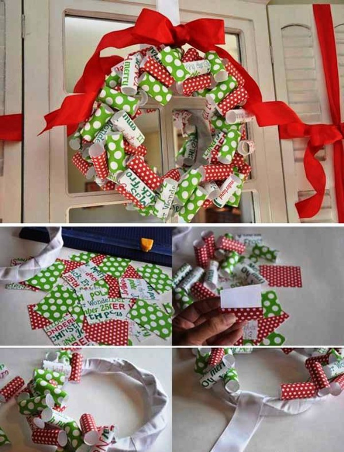 using strips of red, and light green paper, with white polka dots, to create a wreath, rolling the pieces of paper, and sticking them onto a white hoop, covered in white fabric, how to make a christmas wreath, with a red ribbon, tied into a bow at the top