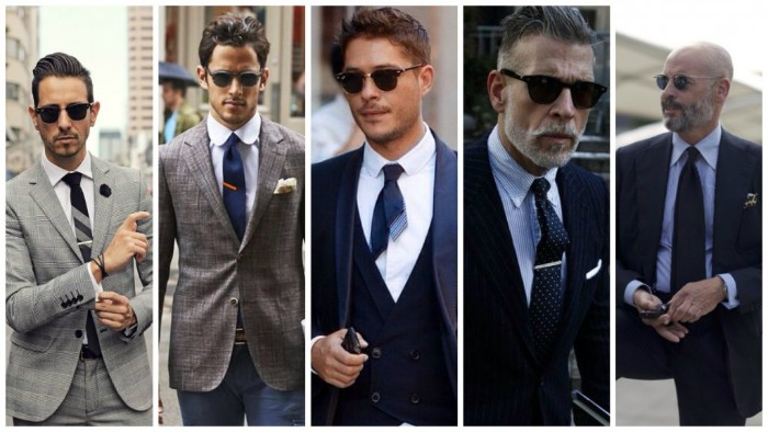 collage featuring five images, of men dressed in smart clothes, black and navy blue suits, pale grey checkered suit, blue trousers and a mink grey blazer, all worn with dark ties