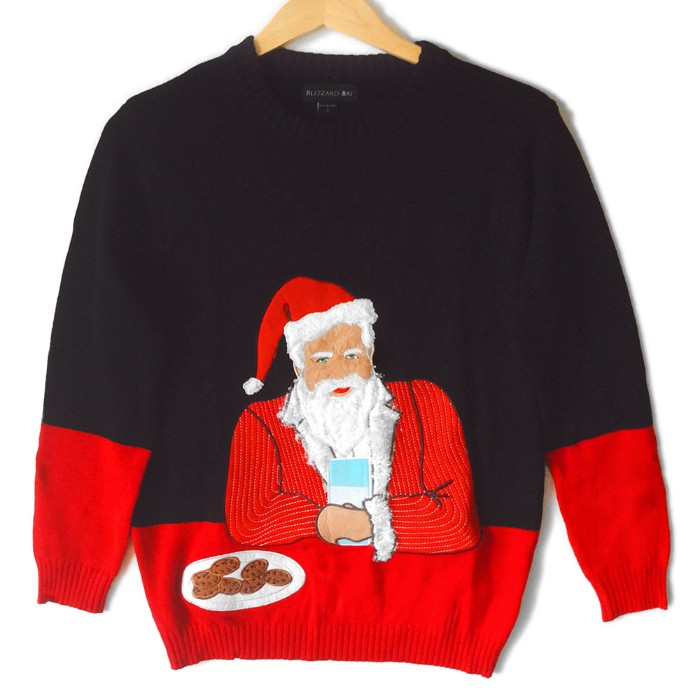 meme-inspired jumper in black and red, featuring santa in the pose of the most interesting men in the world, holding a glass of milk, near a plate of cookies