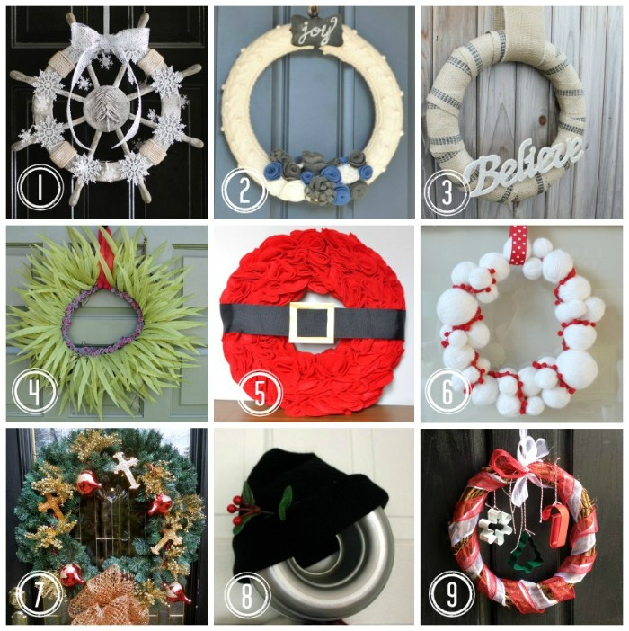 more suggestions for a diy wreath, ship's steering wheel wreath, painted in silver, santa wreath in red, with a black belt, and many others