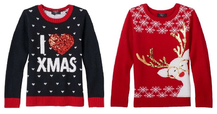 dark navy jumper, with a white hearts pattern, a festive message, and a red heart, covered in sequins, red jumper with white snowflakes, and a white cartoon deer, with rose gold antlers and glasses
