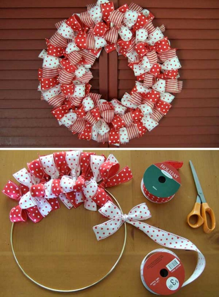 polka dots and stripes, decorating pieces of red and white ribbon, tied in dense bows, around a metal hoop, to form a wreath, holiday wreaths diy ideas