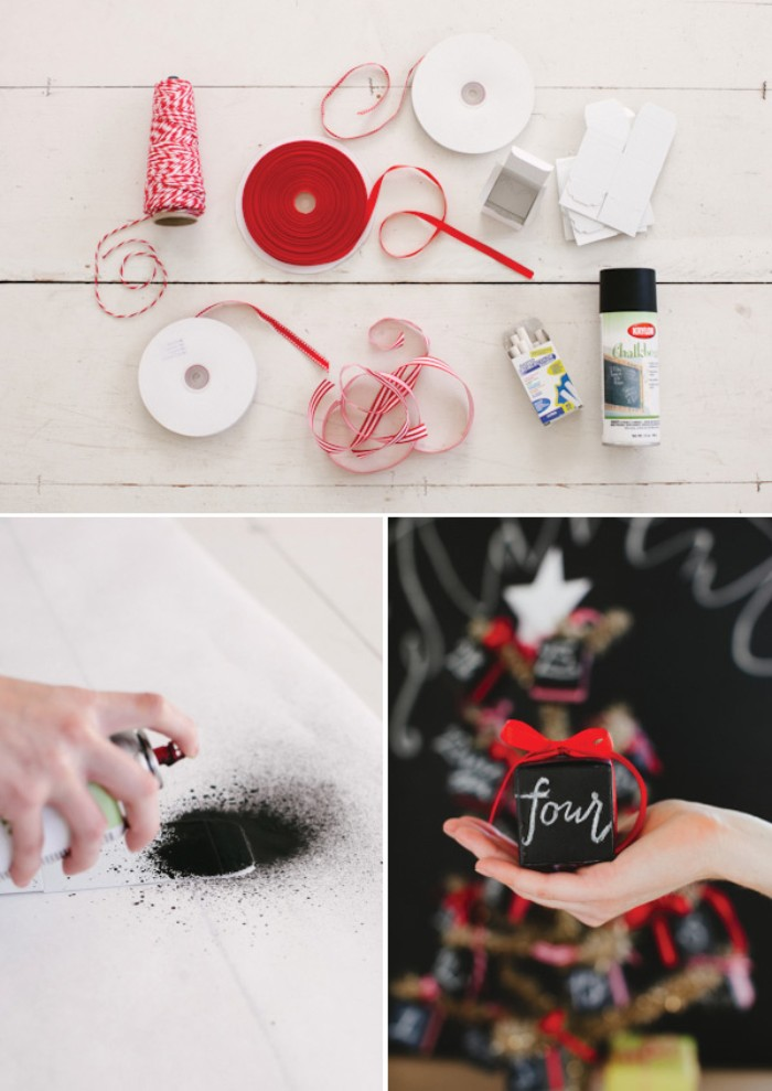 materials needed for making a diy advent calendar, white and red thread, red ribbon and white card, black spray paint, next images show, a hand applying black spray paint, to a piece of white card, and a hand holding a black box, with a red bow