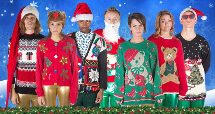 teddy bears and presents, xmas trees and wreaths, on seven jumpers and cardigans, in red and green, black and white, worn by young men and women, cute ugly christmas sweater ideas